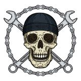 Vector illustration of human skull in black hat with two crossed wrenches and chaun. Vector skull with spanner. Vector illustration of human skull in black hat Royalty Free Stock Photography