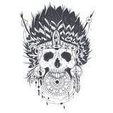 Vector illustration of a human skull in an indian feather hat, tattoo template Royalty Free Stock Photography