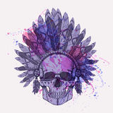 Vector illustration of human skull in native american headdress Stock Photo