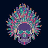 Vector illustration of human skull in native american indian chief headdress. Vector colorful illustration of human skull in native american indian chief Stock Photo
