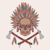 Vector illustration of human skull in native american indian chief headdress. Tomahawks Royalty Free Stock Images