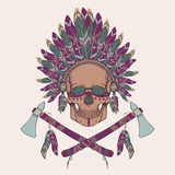 Vector illustration of human skull in native american indian chief headdress. Tomahawks Royalty Free Stock Photos
