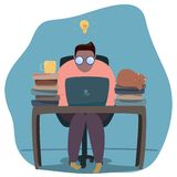 Illustration of human working on laptop stock illustration