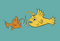 Vector illustration with hunting fish. Creative  funny artwork made in hand drawn style. Template for card, poster banner, print for t-shirt Stock Photography