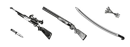 Vector illustration huntings rifle colored, black and white, silhouette stock illustration
