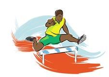 Hurdle jump. A vector illustration of a hurdle jumping man at the olympics Royalty Free Stock Photos