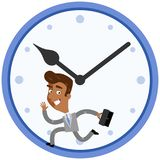 Vector illustration of a hurrying asian cartoon businessman running inside big clock Royalty Free Stock Photography
