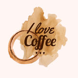 Vector illustration with `I love coffee` phrase and pour coffee blot Royalty Free Stock Photos