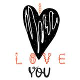 Vector illustration I Love You. with a picture of a black heart. lettering. vector illustration