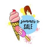 Vector illustration of Ice cream sale banne vector illustration