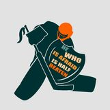Vector illustration of ice hockey goalie with knight shield. He who is afraid is half beaten motto. Sport metaphor. Sport relative quote Stock Images