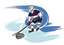 Ice hockey player. A vector illustration of a ice hockey playing man at the olympics Stock Photo