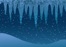 Vector illustration. Icicles on a background of falling snow. Stock Photo