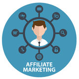 Vector illustration icon of affiliate marketing in circle Stock Images