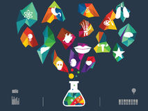 Vector illustration of icon beaker Stock Images