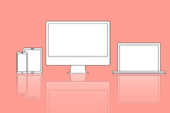 Vector illustration icon of Computer,modern laptop, phone, table Stock Photos