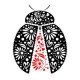 Vector illustration. Icon of decorative ornamental black ladybug,  over white background Royalty Free Stock Photos