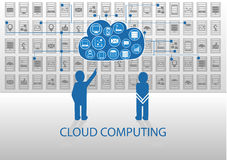 Vector illustration of icon persons for cloud computing. Royalty Free Stock Photography