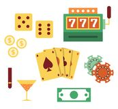 Vector illustration icon set of casino: dice, slot machine, coin, cards, chips, cocktail, cigar, money. Vector flat illustration, icon set of casino: dice, slot royalty free illustration