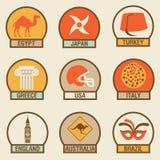 Vector illustration icon set of Country: Egypt, Japan, Turkey, Greece, USA, Italy, England, Australia, Brazil. Vector flat illustration, icon set of Country vector illustration