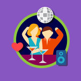 Vector illustration icon set of disco bar Royalty Free Stock Photo