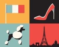 Vector illustration icon set of France: flag, fashion, dog, Paris royalty free illustration