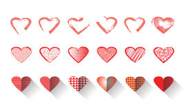 Vector illustration icon set of red hearts shape for Valentine's Day Royalty Free Stock Photo