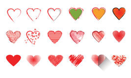 Vector illustration icon set of red hearts Royalty Free Stock Photography