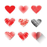 Vector illustration icon set of red hearts shape Royalty Free Stock Photos