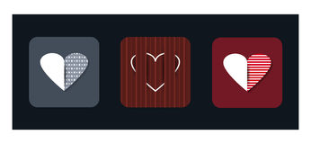 Vector illustration icon set of red hearts shape Stock Images