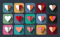 Vector illustration icon set of red hearts shape Royalty Free Stock Photography