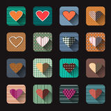 Vector illustration icon set of red hearts shape Royalty Free Stock Images