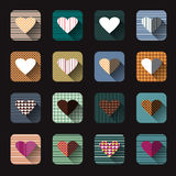 Vector illustration icon set of red hearts shape Stock Photography