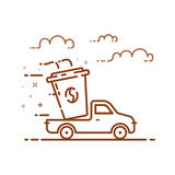 Vector illustration of icon shopping concept delivery servicein in line style. Royalty Free Stock Photography