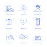 Vector illustration of icon shopping concept likes in line style. Linear blue phone with geometric symbols. icon set Royalty Free Stock Photos