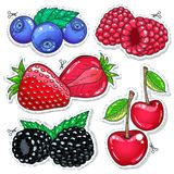 Vector illustration. Sweet berries, vector illustration realistic set. Vector illustration, icons colored dietary dessert. Set berries. Strawberries, raspberries Stock Photography