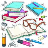 Vector icons colored stationery for school and student. Set for study, books, glasses, stationery. stock photography