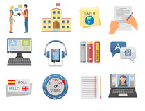 Vector illustration icons for educational programs languages distance education online learning Royalty Free Stock Photo