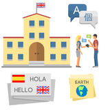 Vector illustration icons for educational programs languages distance education online learning Royalty Free Stock Image