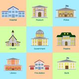 Vector illustration icons set of colorful public buildings in flat style. royalty free illustration
