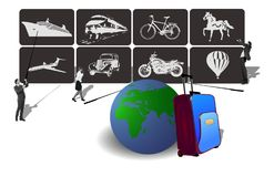 Transport Icons for travel. Vector illustration of icons of transport for travel and hard choices Stock Images