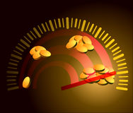 Vector illustration. Illustration of earning money. Speedometer Royalty Free Stock Photos