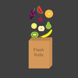 Vector illustration with the image of fresh fruits falling into a paper bag. Royalty Free Stock Images