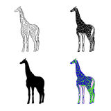 Vector illustration of an image of a giraffe. Black and white line, black silhouette, black and white and gray spot. Multicolored. Illustration Royalty Free Stock Photography