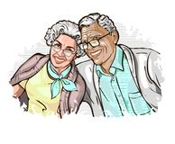 Vector illustration with the image of a happy elegant mature couple royalty free illustration