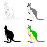 Vector illustration. Image Kangaroo line silhouette, black and white  color. Royalty Free Stock Photo