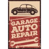 Vintage Retro Classic Car Service. Vector illustration with the image of an old classic car, design logos, posters, banners, signage royalty free illustration