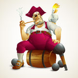 Vector illustration with the image of a pirate Stock Photography