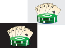 Image of playing cards and chips casino. Royalty Free Stock Images