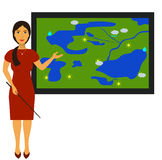 Vector illustration with the image of a TV weather reporter at work. Weather forecast Royalty Free Stock Image